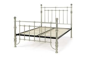Double bed Serene Sebastian nickel effect bed and mattress