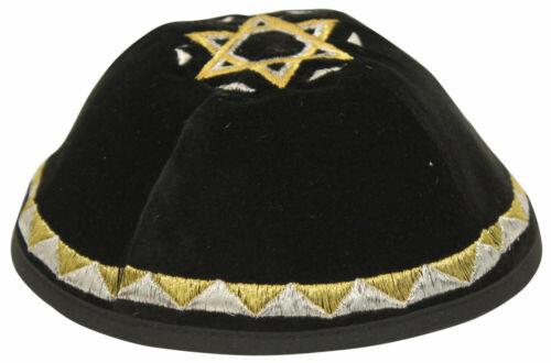 Black Velvet Kippah with Silver & Gold Star of David - Jewish Yarmulke