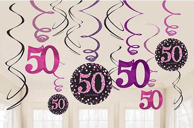 12 X 50th Birthday Wirbel Wandbehang Schwarz & Rosatöne Partydekorationen (50th Birthday Party Dekorationen)