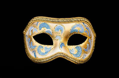 Mask from Venice Colombine Anna Blue and Golden for Prom Mask 960 V4B