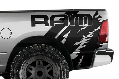 "Vinyl Decal Wrap Kit for Dodge Ram 1500/2500/3500 2009-2018 ""RAM"" Quarter BLACK"