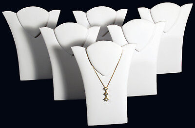 6 New White Leather Padded Necklace Pendant Display 6