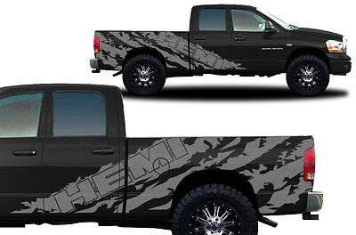 Vinyl Decal Graphic Wrap Kit fits 2002-2008 Dodge Ram 6.5 Bed HEMI SHRED Silver