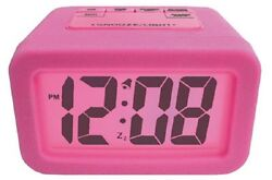 Geneva, 1.25, LCD Alarm Clock, Silicone Skin, PINK, Matching Color Backlight