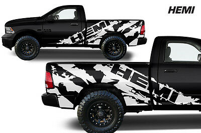Vinyl Decal HEMI Wrap for 2009-2018 Dodge Ram 1500/2500/3500 5.7 BED TRuck White