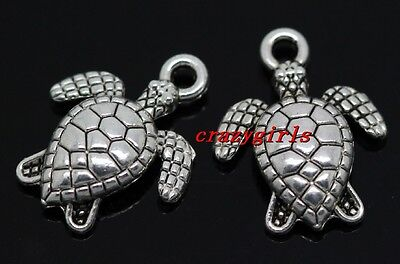 Lot 50 100Pcs Lovely Tibet Silver Turtle Jewelry Finding Charm Pendant 16X13mm