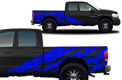 Vinyl Decal Graphic Wrap Kit fits 2002-2008 Dodge Ram 6.5 Bed HEMI SHRED - Blue