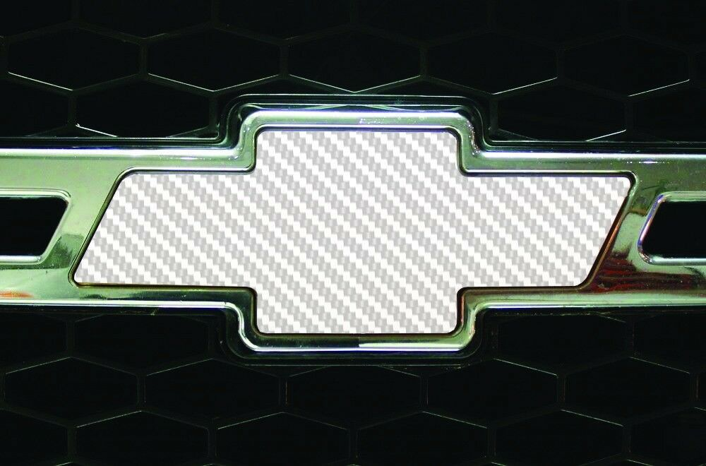 Vinyl Sheet x2 fits Chevy Bowtie Emblem Logo White Carbon Fiber Decal U CUT Trim
