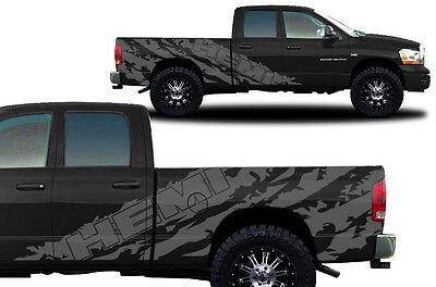 Vinyl Decal Graphic Wrap Kit fits 2002-2008 Dodge Ram 6.5 Bed HEMI SHRED - Gray