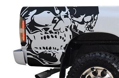 Custom Vinyl Decal DOUBLE SKULL Wrap for Dodge Ram 1500/2500 2002-08 Matte Black