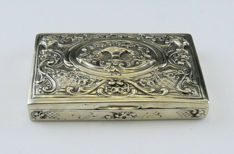 Ornate Silver late 1800s/early 1900s German Basket of Flowers Scrollwork Box