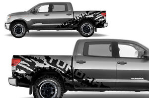 Vinyl Graphics Decal Wrap Kit TORN T for 07-13 Toyota Tundra CrewMax MATTE BLACK