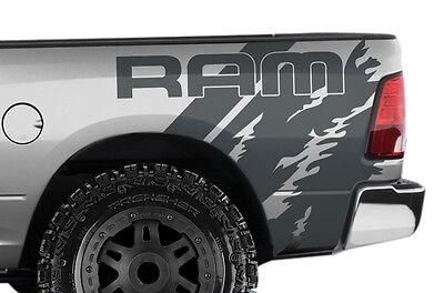 """Vinyl Decal Wrap Kit for Dodge Ram 1500/2500/3500 2009-2018 """"RAM"""" Quarter GRAY"""