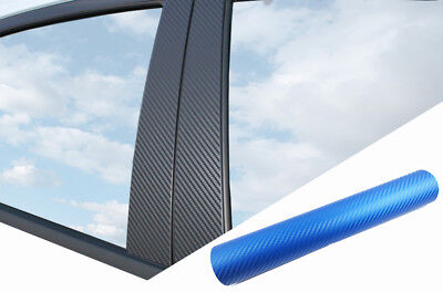 6x PREMIUM A B C Säule Tür Leisten Auto Folie Carbon Blau für viele Fahrzeuge
