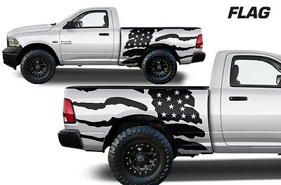Custom Vinyl Graphics Decal FLAG Wrap Kit Dodge Ram Truck 09-2018 6.5 BED BLACK