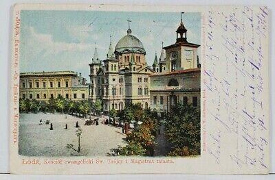 Lodz Kosciol ewangelicki Sw Trojcy i Magistrat miasta 1902 Russie Postcard L3