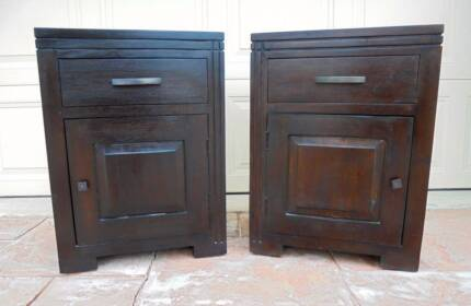 2x Solid Heavy Wooden 1 Dr 1 Drawer Bedside/Side Tables Mahogany