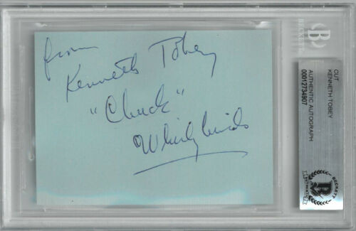 Kenneth Tobey signed 2.5x3 Cut Sig w/ Chuck Whirlybirds (1957-60 TV) - Beckett