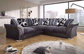 BLACK/GREY OR DARK BROWN! WOW New SHANNON Corner Or 3 + 2 Sofa, SWIVEL CHAIRS, Universal corner Sofa
