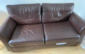 Brown Leather M&S 3 seater and 2 seater Sofa