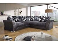 BRAND NEW SHANNON CORNER or 3 AND 2 SEATER SOFA SET IN LEATHER & CHENILLE FABRIC, in BLACK or BROWN