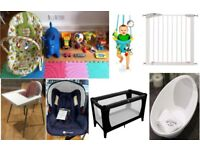 A BABY STARTER PACK - TRAVEL COT/CHAIR, HIGHCHAIR, BATH CAR /CARRY SEAT MOSES BASKET AND MUCH MORE