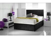 new double 4ft6 divan bed with mattress chenille black charcoal top quality furniture single & king
