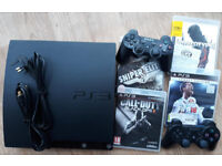 gaming bundle, PS3 SLIM, 2 controllers & 4 games, FIFA 2018 LEGACY edition