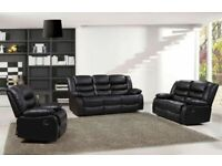 🔥🔥EXCLUSIVE CHELSEA BONDED LEATHER RECLINER 3+2 SEATER SOFA SUITE WITH CUP HOLDER BLACK OR GREY