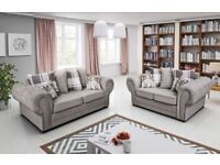 BRAND NEW VERONA/BARON 3+2 OR CORNER SILVER FABRIC LINEN SCATTER BACK SOFA NOW ON SALE !