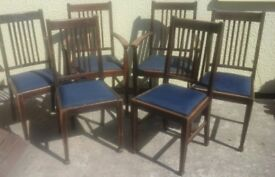 6 antique solid oak dining chairs, can be sold separately.