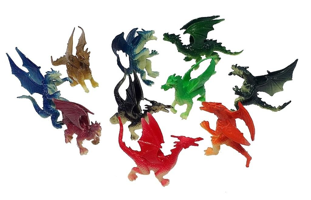 "2.5/"" 3/"" Plastic Fire Breathing Mini Dragons 10 Pieces"
