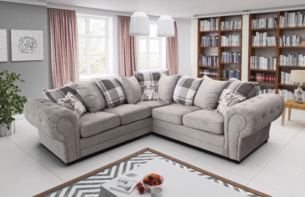New High Quality Large Grey Fabric Corner Sofa In