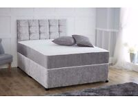 CRUSHED VELVET DIVAN BED + DUAL TURN SPRUNG MEMORY FOAM MATTRESS + EXTRA PADDED YORK HEADBOARD