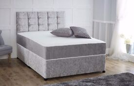 new double divan bed with top quality mattress for £89 crush velvet single & King