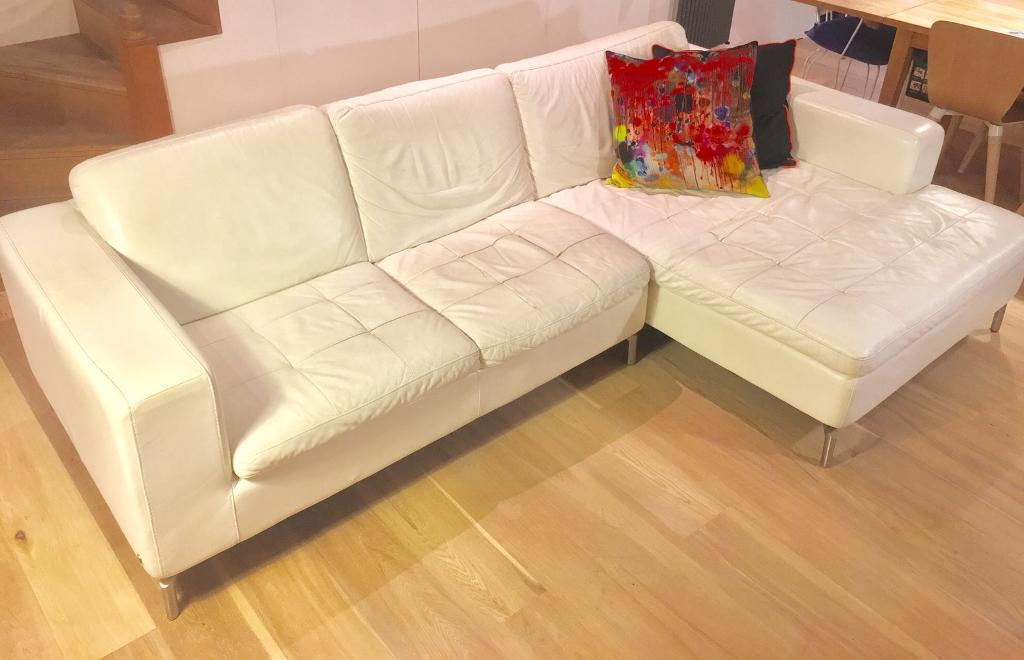 Italian white leather corner sofa - offers?