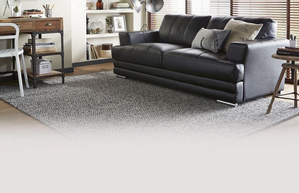 Dfs Calvino 3 Seater Black Leather Sofa Good Condition In Northampton Northamptonshire Gumtree