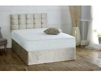 Double Divan Crush Velvet Bed with Mattress and Headboard