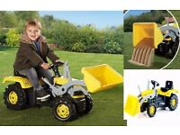 DOLU YELLOW KIDS PEDAL FARM TRACTOR DIGGER