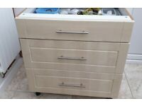 3 drawer kitchen base unit for worktop surface