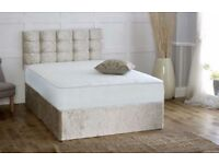 Crushed Velvet Divan Bed with Orthopaedic/Memory Sprung Mattress & Cubed Headboard