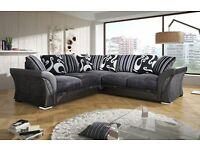 NEW DFS sofa SHANNON CORNER/3+2 SOFA/CUDDLE CHAIR plus FREE storage POUFFE and chrome feet