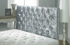The Fastest Delivery King Size Crushed Velvet Bed Mattress Headboard BRANDNEW Factory Direct