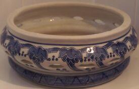 Blue Pottery Round Potpourri Bowl