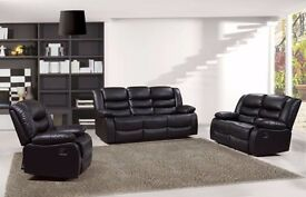 Luxury Rhiaanna 3&2 Bonded Leather Recliner Sofa Set With Pull Down Drink Holder