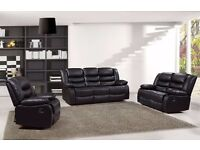Rachel Luxury Bonded Leather Recliner Sofa Set With Pull Down Drink Holder