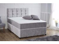 -- SINGLE DOUBLE AND KINGSIZE -- BLACK SILVER AND CREAM -- CRUSHED VELVET DIVAN BED BASE+ MATTRESS