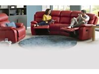 DFS Daytona Red Leather Manual Recliner Curved Sofa & Rocking Recliner Armchair £2800