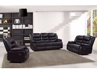 Rachele Luxury 3&2 Bonded Leather Recliner Sofa Set With Pull Down Drink Holder