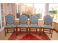 4 ELEGANT SOLID YEW CHAIRS IN VERY GOOD CONDITION ONLY £20.00 EACH (CAN DELIVER)